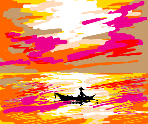 Chinese man canoeing over a lake at sunset