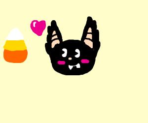 Green bat eats candy corn