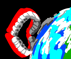 giant dentures are going to eat earth