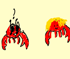 A crab who has a crush on a blonde