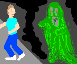 Green goo ghost stalks man