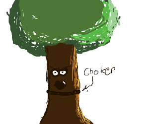 Angry goth tree wearing a choker