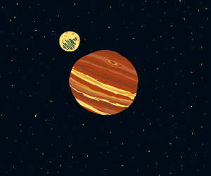 Orange/Red Planet and Moon