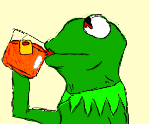 Kermit sipping lipton, but he has hyphema