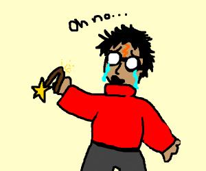 Harry Potter cries, wand is broken