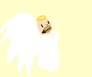 Angel eats a sandwich