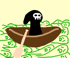 Death rides a small boat along the River Styx