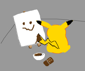 Pikachu painting his tail with chocolate