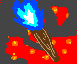 Torch with blue flame