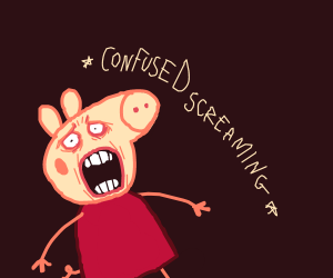 Scared confused pig