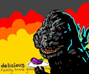 Godzilla attacks a city and eats an eggplant