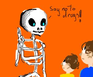 skeleton telling kids to say no to drugs