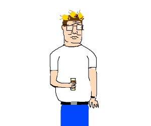 Hank Hill with 3 dead canaries on his head