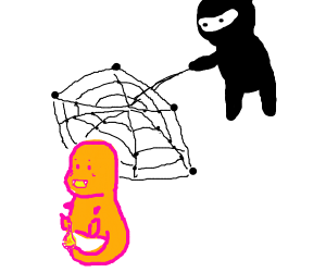ninja trying to catch charmander with net