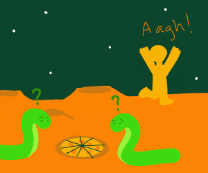 Spineless aliens intrigued by pizza, man runs