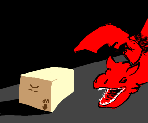 Sad upside down box attacked by dragon