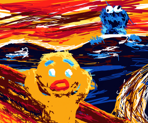 """""""The Scream"""" w/ gingerbread man + Cookie Mons"""