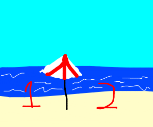 1 and a 2 on beach
