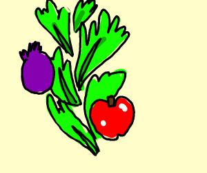 Lettuce tornado with purple onion and tomatoe