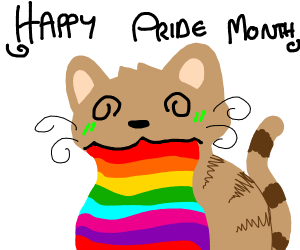 Tabby cat barfing out rainbows