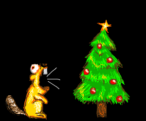 Blonde beaver yelling at christmas tree