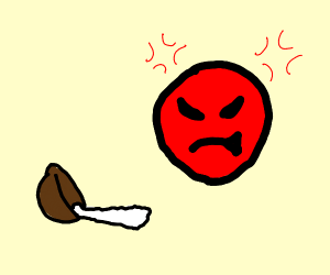 angry emoji is angry about spilled boul