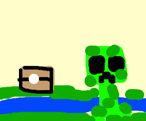 Minecraft creeper by a chest and water