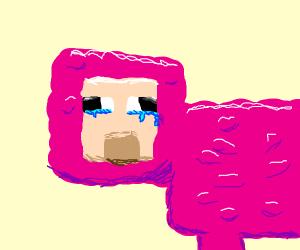 A pink minecraft sheep cries alone.