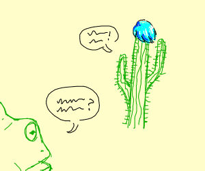 Offscreen frog talks to cyan haired cactus