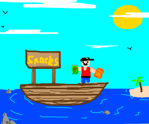 Man on boat sells snacks