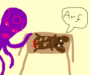 octopus spanking dog on table