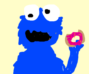 Cookie Monster eating a  Doughnut
