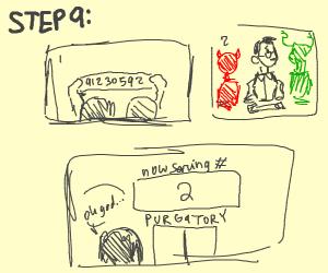 Step 8: Get sent to Purgatory waiting room