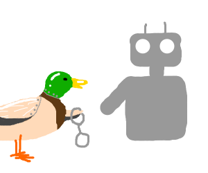 Robo-cop-duck arrests a robot