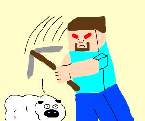 Minecraft Steve dislikes non-blocky animals