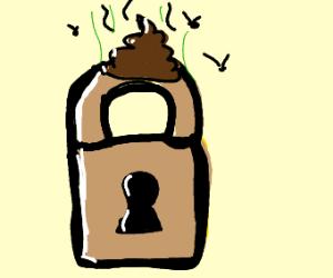 a mega key lock with poo on it or a cinema