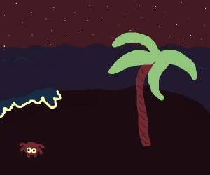Tropical island beach at night