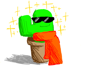 Cool cactus wears a scarf