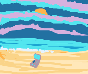 A gameboy sitting on a gorgeous, sandy beach