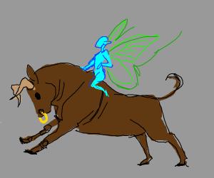 Fairy riding a  bull