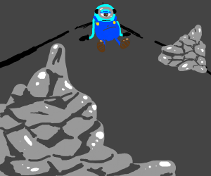 depressed blue minion in a cave