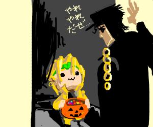 Dio telling Jotaro trick or treat on Hallowee