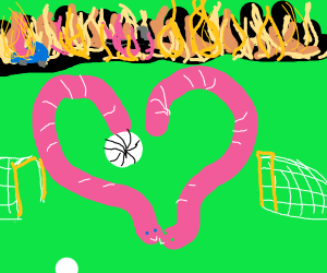 2 Worm in Love, playing soccer, as world burn