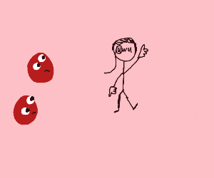 Two red slimes looking at an uwu face guy