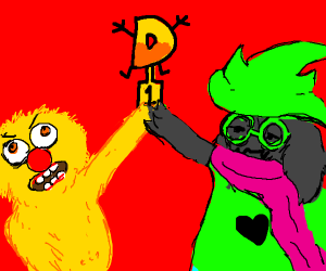 Yellmo fights Ralsei for King of Drawception