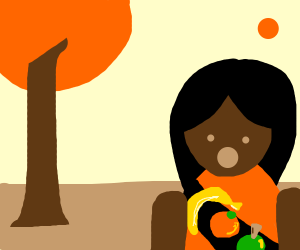 Girl wearing a fruity garland