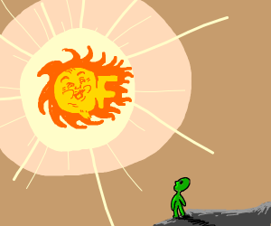 Small green alien-like creature looks at sunf