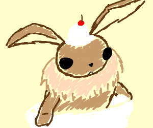 eevee in a sundae bowl with cream on its head
