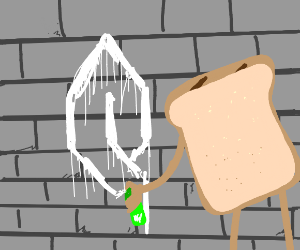 bread graffitieing on wall