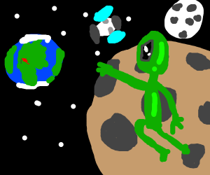alien riding on meteor to find area 51